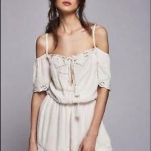 Free People Embroidered Romance Romper XS
